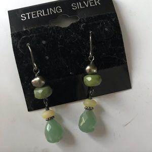 Silpada earrings green stone
